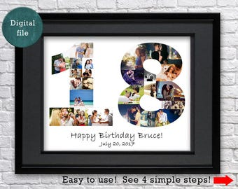 18th birthday ideas 18th birthday gift for him 18 anniversary art gift for her 18th birthday girl Gift for 18th Picture collage
