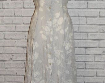 Size 10 vintage 80s sleeveless collar button maxi dress light grey floral (HS41)