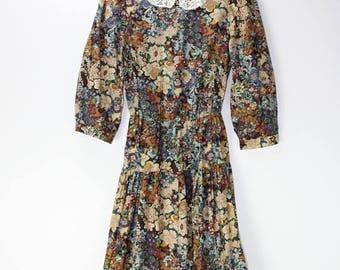 ON SALE Vintage Floral Midi Long Sleeve Ruffle Skirt Lace Collar Boho 80's Tea Dress CGJ Small
