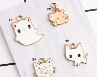 Cat Charms, 10PCS, Enamel Charm, Cat Head Charm,White Cat Charm, Ghost Charm, Jewelry Findings, Craft Supplies