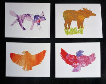 Alaskan Animal Greeting Cards. Set of 4 unique collage art cards. Includes: Moose, Fox, Golden Eagle, Red Eagle. Elementary student art