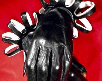 Black Kid Leather Gloves ~ Size 7 1/2 ~Flair Cuff Accents