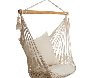 Hanging Chair rugged quality, natural white / cream, sturdy cotton, XL, ohneKissen