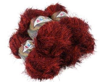 5 x 100 g fringe Cardigan ALIZE DECOFUR, #1373 red bordeaux