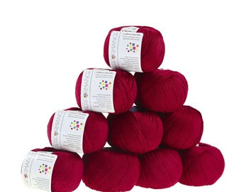 10 x 50 g knitting wool cotton, marble, #21 Red