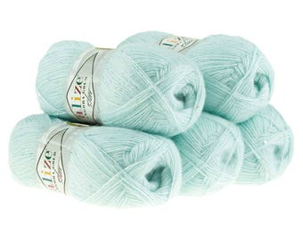 5 x 100 g sequin yarn ANGORA GOLD STAR, #514 light blue
