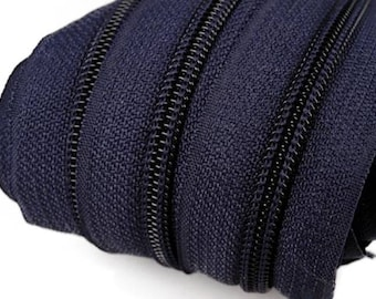 6m of endless zipper 5mm with 15 zippers and tails 330 dark blue