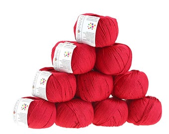 10 x 50 g knitting wool cotton Pearl, #462 Red