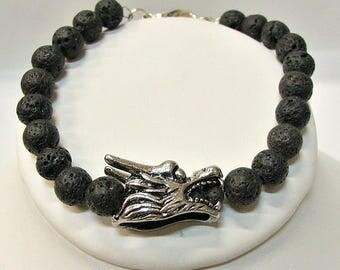 Lava Stone Bracelet with Dragon Charm