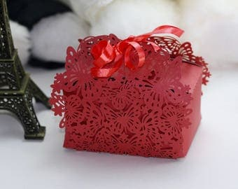 Red Lace Cut Butterfly Favour Box