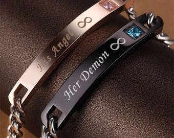 Ladies and mens his angel and her demon bracelets