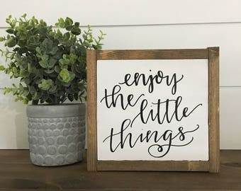 Enjoy The Little Things Framed Wood Sign 7x6.5""