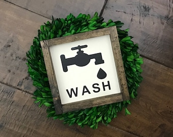 WASH Sign | Bathroom Wall Decor | Farmhouse Bathroom | Wood Sign | Farmhouse Sign | Bathroom Sign | Faucet Sign | Farmhouse Style | Home Dec