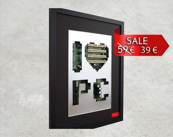 I love my PC Wall Silhouette 30 x 40 cm - Computer & Electronic WALL Decor with recycled original mainboard / circuit board / motherboard