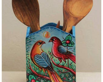 Wooden Painted Spoon and Knife Holder