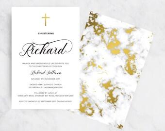 Gold Marble Christening Invitation | Christening Invites | Baptism Invitations | Boy | Girl