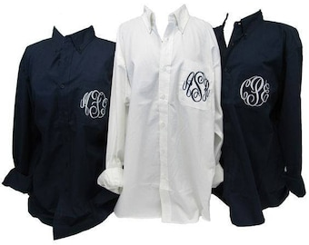 6-Oversized Bridesmaid Shirts- Monogrammed Getting Ready Shirts- Bridal Party shirts-Broadcloth Bridal Shirts