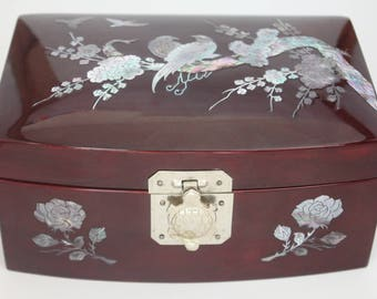 Lacquer Mother of Pearl Box Vintage 1980's Oriental Lacquer Wood Jewelry Box Inlaid Mother of Pearl Pheasants Red Velvet Lining Trinket Box