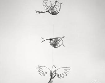 Wire bird mobile