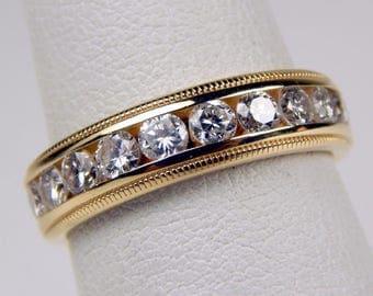 14k gold .80 diamond band ring #10289