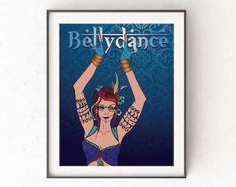 Bellydance, art download original illustration, tribal exotic, woman, blue pattern, poster, figurative, digital, decor, feminist, dancer