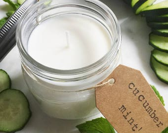 8 oz. Cucumber & Mint Hand Poured Pure Soy Candle with Cotton Wick