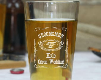 Set of 13 Custom Pint Glasses, Custom Beer Glasses, Engraved Pint Glasses, Personalized Beer Mugs, Groomsmen Pint, Custom Pint Glass