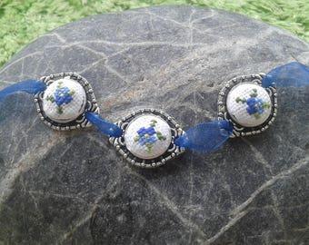 Bracelet, Silver bracelet , Silver bracelet with embroidery, embroidery bracelet