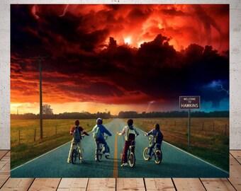 Stranger Things Poster, stranger things art, stranger things print, eleven stranger things, movie posters, halloween poster, movie geek gift