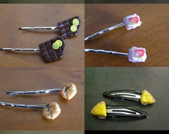 choice 2 pins, clips, ice, pie, donuts, chocolate, cake, croissant, Waffle