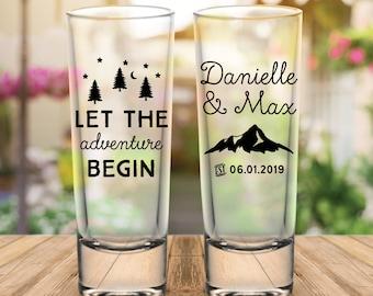 "Custom ""Let The Adventure Begin"" 2-Sided Tall Wedding Favor Shot Glasses"