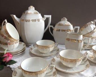 vintage French porcelain coffee set. Limoges white and gold coffee set. Vintage tea set Limoges. french porcelain. Gilt frieze