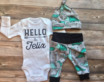 Hello I'm Baby Dinosaur Coming Home Outfit, newborn boy coming home outfit, baby boy coming home outfit, hello baby name, Dino outfit