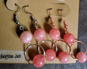 Rose Quartz - Copper or Silver - Wire Earrings
