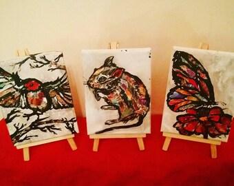 Mini beasts on canvas 11.99 each