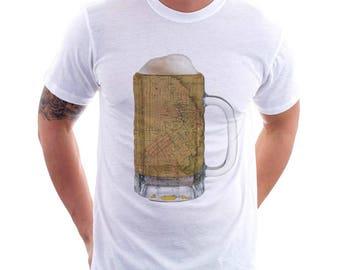 San Francisco Map Beer Mug Tee, Vintage City Maps Beer Mug Tees, Beer T-Shirt, Beer Thinkers, Beer Lovers, Cities, Beer Lover Tees