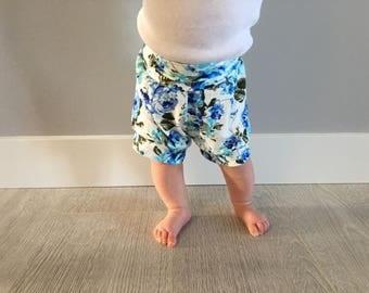 Royal Blue Floral Shorts