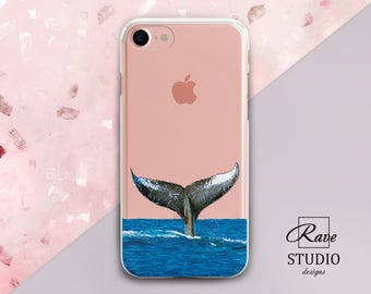 Whale cases iPhone case ocean Whale iPhone 7 case Ocean iPhone 8 case Whale tail art Transparent iPhone 6 plus case 7 iPhone case iPhone