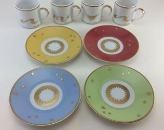 Set of 4 Christofle France Porcelain Demitasse Espresso Cup Saucer Gold Rim RARE