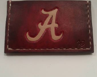 Front pocket  leather minimalist wallet dyed to match the Crimson Tide, made in the USA free shipping