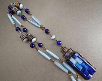 Czech, Neiger, Art Deco, Blue Molded Glass necklace