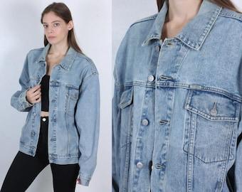 Vintage Guess Jacket // 90s Jean Jacket Grunge Oversized Denim Mens Womens - Large to XL