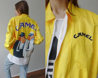 Camel Jacket 90s NEW IN PACKAGE // Vintage Tyvek Jacket Camel Cigarette Coat Windbreaker Grunge Yellow -  Extra Large xl