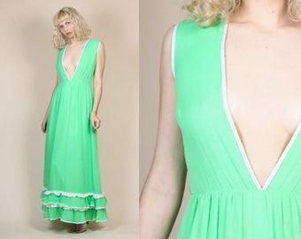 70s Deep V Maxi Dress - Small // Vintage Boho Hippie Green Floor Length Sleeveless Gown