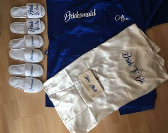 Personalised satin gowns and slipper set