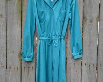 1970s Turquoise Polyester Dress