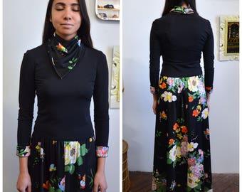 60s Longsleeve Dropwaist Maxi Dress with Bandana, Floral Longsleeve Dress with Scarf, Sz M