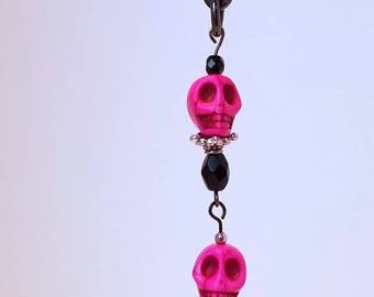 Silver and Black TeaChain with hot pink skulls