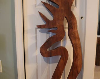 8 Point Deer Wood Carving, Sycamore  Wall Hanging 48 Inches tall by 15 inches wide