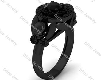 1 carat onyx black engagement ring gothic skull ring womens steampunk horror gothic skull wedding ring - Goth Wedding Rings